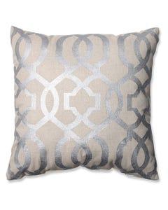 """Silver Geometric Pillow 16.5"""" x 16.5"""""""