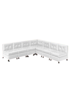 White Lowback Armless Sectional Package