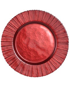 Deep Red Rim Rays Passing Plate