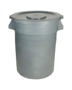 Gray Garbage Cans and Lids
